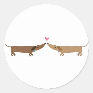 doxie love round sticker