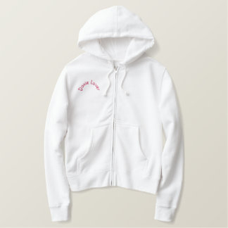 """Doxie Lover"" Embroidered Ladies Sherpa Hoodie"