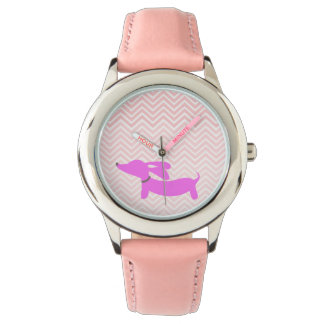 Doxie Time: Pink Flying Ears Dachshund + Chevron Wristwatches