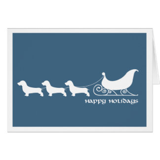 Doxies (Wirehaired) Pulling Santa's Sleigh Card