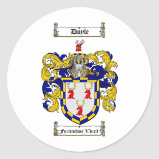 DOYLE FAMILY CREST -  DOYLE COAT OF ARMS CLASSIC ROUND STICKER