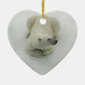 Dozing Polar Bear Ceramic Heart Decoration