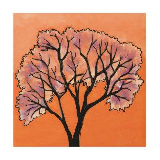 DP183 Orange and Purple Tree Wood Print