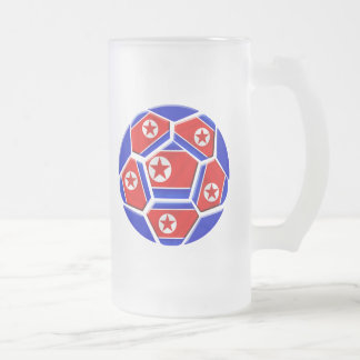 DPR North Korea flag soccer ball lovers gifts Frosted Glass Mug