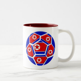 DPR North Korea flag soccer ball lovers gifts Two-Tone Mug