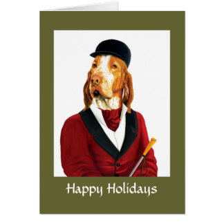 DR049 Italian Hound, Happy Holidays Greeting Card