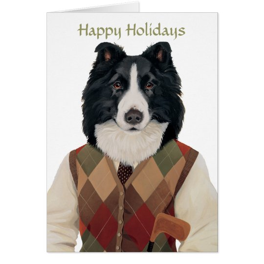 DR132 Border Collie, Happy Holidays card