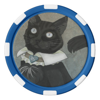 Dr. Bagheera Clay Poker Chips, Blue Striped Edge Poker Chip Set