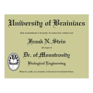 Dr. Frankenstein's diploma, postcard