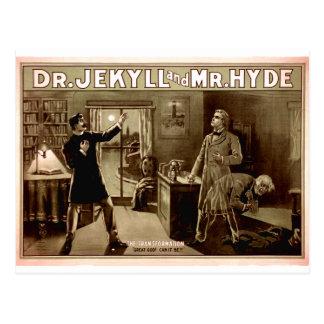 Dr. Jekyll and Mr. Hyde Vintage Illustration 1880s Postcard