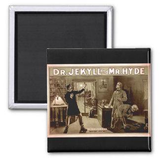 Dr. Jekyll and Mr. Hyde Vintage Illustration 1880s Square Magnet