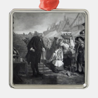 Dr. Johnson doing penance in the market place Silver-Colored Square Decoration