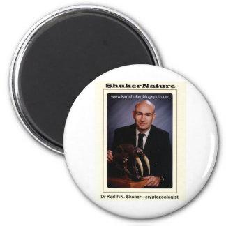 Dr Karl Shuker and Smilodon Skull - ShukerNature 6 Cm Round Magnet