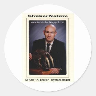 Dr Karl Shuker and Smilodon Skull - ShukerNature Classic Round Sticker