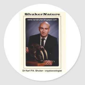 Dr Karl Shuker and Smilodon Skull - ShukerNature Round Sticker
