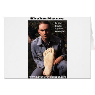Dr Karl Shuker & bigfoot print cast - ShukerNature Greeting Card