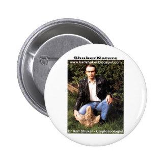 Dr Karl Shuker & dinosaur footprint - ShukerNature Buttons