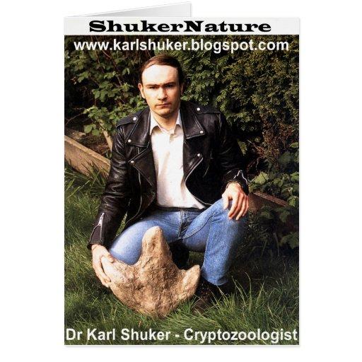 Dr Karl Shuker & dinosaur footprint - ShukerNature Greeting Cards