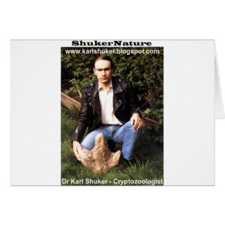 Dr Karl Shuker & dinosaur footprint - ShukerNature Greeting Card