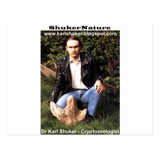 Dr Karl Shuker & dinosaur footprint - ShukerNature Post Card