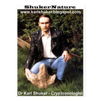 Dr Karl Shuker & dinosaur footprint - ShukerNature Postcard