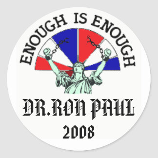DR.RON PAUL, 2008 CLASSIC ROUND STICKER