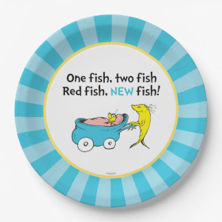 Dr. Seuss   One Fish - Boy Baby Shower Paper Plate