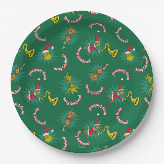Dr Seuss | The Grinch | Merry Grinchmas Pattern Paper Plate
