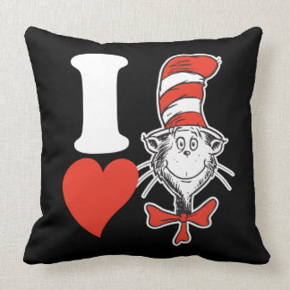 Dr. Seuss Valentine   I Heart the Cat in the Hat Throw Pillow