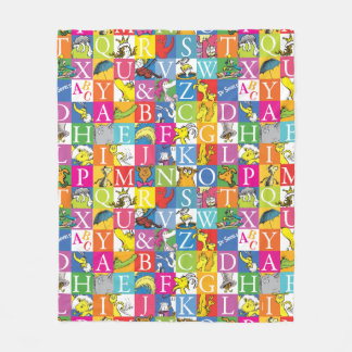 Dr. Seuss's ABC Colorful Block Letter Pattern Fleece Blanket