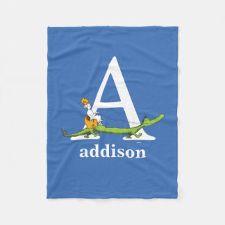 Dr. Seuss's ABC: Letter A - White | Add Your Name Fleece Blanket
