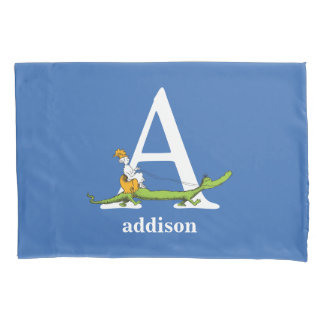 Dr. Seuss's ABC: Letter A - White | Add Your Name Pillowcase