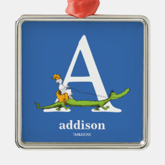 Dr. Seuss's ABC: Letter A - White | Add Your Name Silver-Colored Square Decoration