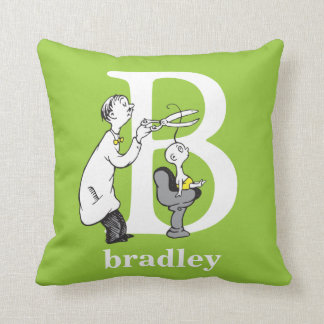 Dr. Seuss's ABC: Letter B - White   Add Your Name Throw Pillow