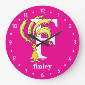 Dr. Seuss's ABC: Letter F - White | Add Your Name Large Clock