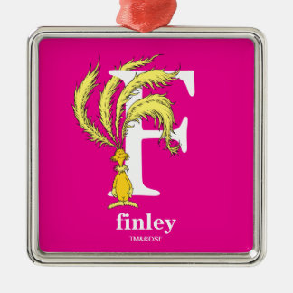 Dr. Seuss's ABC: Letter F - White | Add Your Name Silver-Colored Square Decoration