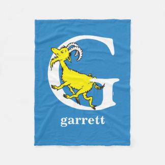 Dr. Seuss's ABC: Letter G - White | Add Your Name Fleece Blanket