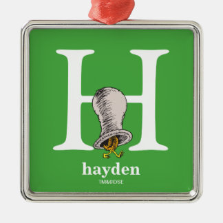 Dr. Seuss's ABC: Letter H - White | Add Your Name Silver-Colored Square Decoration