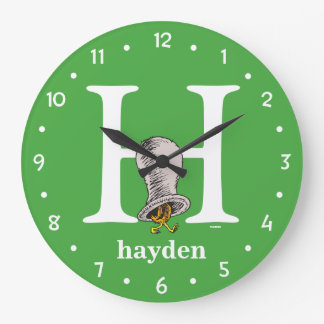Dr. Seuss's ABC: Letter H - White   Add Your Name Wall Clock