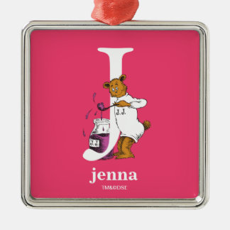 Dr. Seuss's ABC: Letter J - White | Add Your Name Silver-Colored Square Decoration