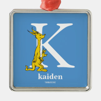 Dr. Seuss's ABC: Letter K - White | Add Your Name Silver-Colored Square Decoration