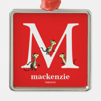 Dr. Seuss's ABC: Letter M - White | Add Your Name Silver-Colored Square Decoration