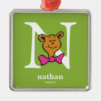 Dr. Seuss's ABC: Letter N - White | Add Your Name Silver-Colored Square Decoration