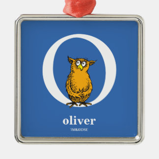 Dr. Seuss's ABC: Letter O - White | Add Your Name Silver-Colored Square Decoration