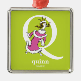Dr. Seuss's ABC: Letter Q - White | Add Your Name Silver-Colored Square Decoration