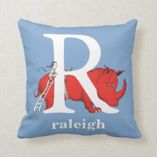 Dr. Seuss's ABC: Letter R - White | Add Your Name Cushion