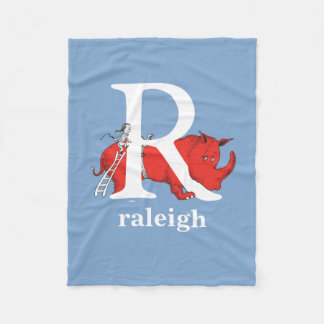 Dr. Seuss's ABC: Letter R - White | Add Your Name Fleece Blanket