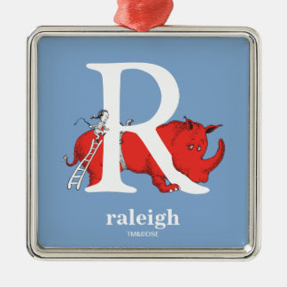 Dr. Seuss's ABC: Letter R - White | Add Your Name Silver-Colored Square Decoration