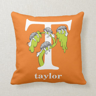 Dr. Seuss's ABC: Letter T - White   Add Your Name Throw Pillow