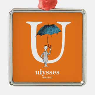 Dr. Seuss's ABC: Letter U - White | Add Your Name Silver-Colored Square Decoration